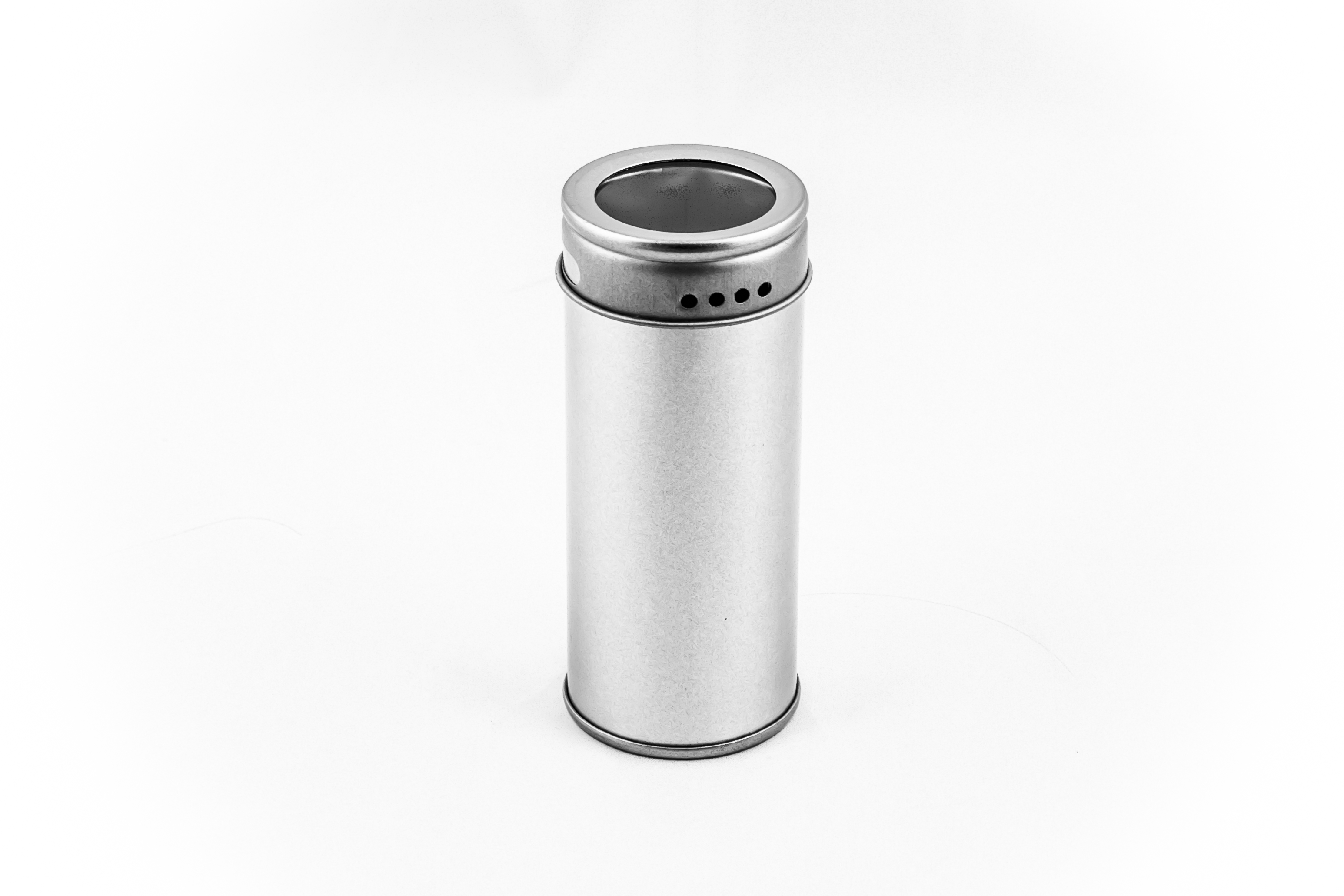 Small spice tin with window and dispenser openings